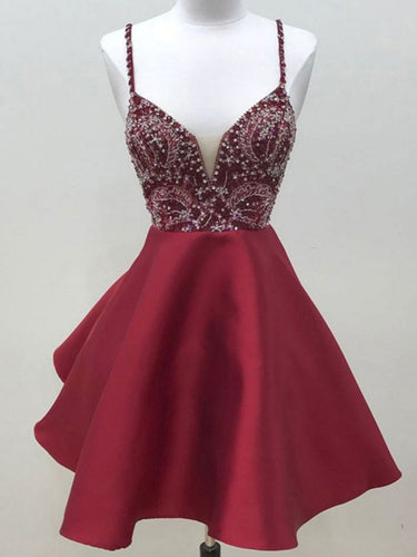 Sexy Homecoming Dress Spaghetti Straps Satin Short Prom Dress Party Dress JK407