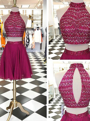 Two Piece Homecoming Dress Rhinestone Fuchsia Chiffon Short Prom Dress Party Dress JK413