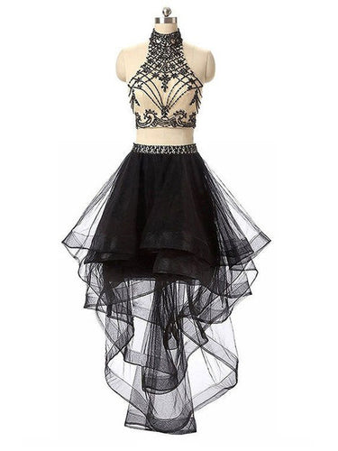 Sexy Homecoming Dress Black Asymmetrical High Neck Short Prom Dress Party Dress JK414
