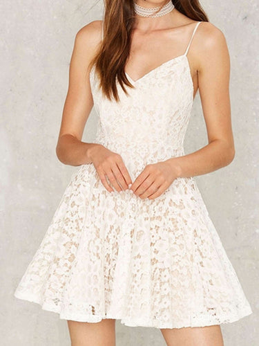 Sexy Homecoming Dress Spaghetti Straps Lace Short Prom Dress Party Dress JK416