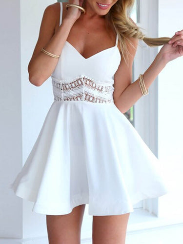 Sexy White Homecoming Dress Spaghetti Straps Lace Short Prom Dress Party Dress JK419