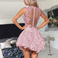 Chic Homecoming Dress Sexy High Neck Lace Short Prom Dress Party Dress JK420