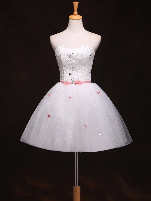 Cute Ivory Homecoming Dress Sweetheart Bowknot Lace Short Prom Dress Party Dress JK421