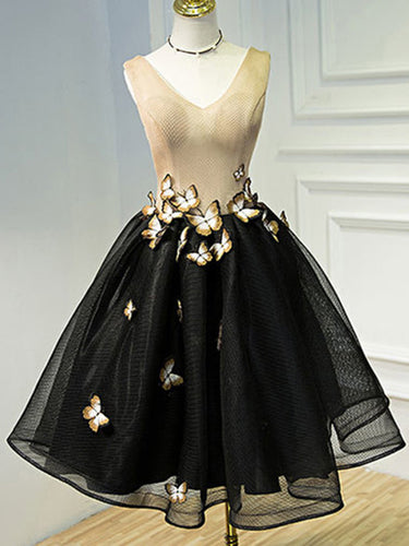 Little Black Dresses Homecoming Dress Butterfly V-neck Short Prom Dress Party Dress JK422