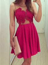 Fashin Homecoming Dress Scoop Appliques Sexy Short Prom Dress Party Dress JK423