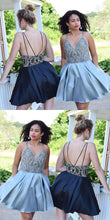 Sexy Homecoming Dress Spaghetti Straps Rhinestone Silver Short Prom Dress Party Dress JK424|Annapromdress