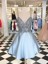 Sexy Homecoming Dress Spaghetti Straps Rhinestone Silver Short Prom Dress Party Dress JK424