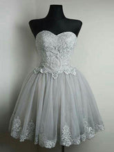 Sweetheart Homecoming Dress Silver Appliques Tulle Short Prom Dress Party Dress JK428