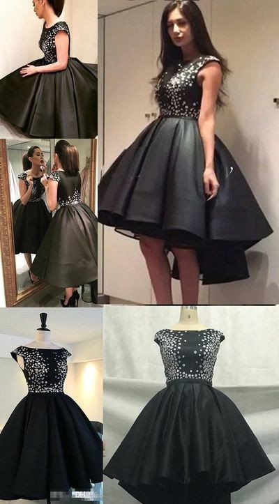 Little Black Dresses Asymmetrical Homecoming Dress Short Prom Dress