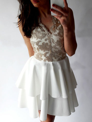 Sexy Homecoming Dress V-neck Lace Ivory Short Prom Dress Party Dress JK439