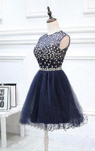 Dark Navy Homecoming Dress Rhinestone Chic Short Prom Dress Party Dress JK441