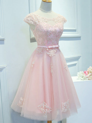 Beautiful Homecoming Dress Scoop Pink Lace-up Short Prom Dress Party Dress JK442