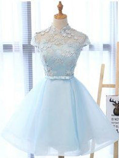Chic Homecoming Dress Light Sky Blue Appliques Organza Short Prom Dress Party Dress JK445
