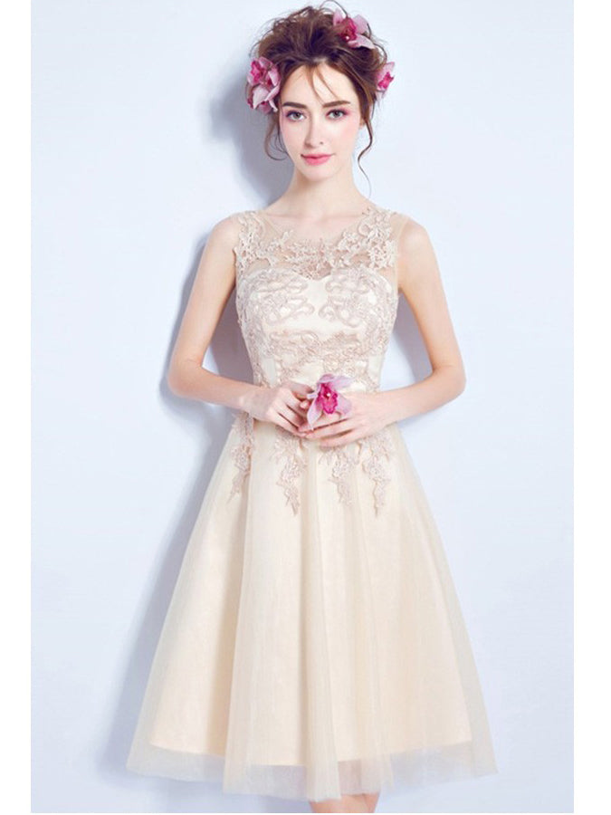 Beautiful Homecoming Dress Knee-length Appliques Short Prom Dress Party Dress JK446