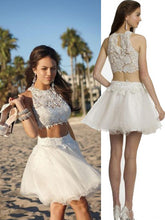 Two Piece Sexy Homecoming Dress Ivory Lace Short Prom Dress Party Dress JK447
