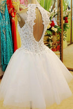 Chic Sexy Homecoming Dress Halter Tulle Ivory Short Prom Dress Party Dress JK448