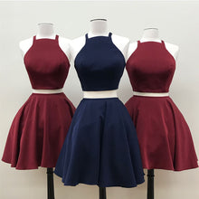 Two Piece Homecoming Dress Lace-up Sexy Burgundy Short Prom Dress Party Dress JK449