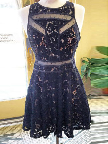 Sexy Lace Homecoming Dress Scoop Dark Navy Short Prom Dress Party Dress JK450