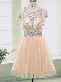 Sexy Homecoming Dress Scoop Zipper Rhinestone Short Prom Dress Party Dress JK452