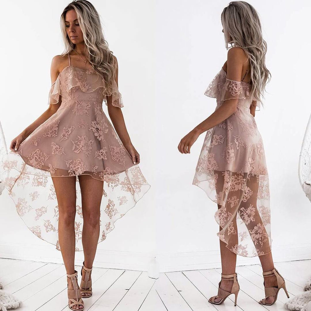 ef43d4578ad ... High Low Homecoming Dress Spaghetti Straps Asymmetrical Lace Sexy Short  Prom Dress Party Dress JK457 ...