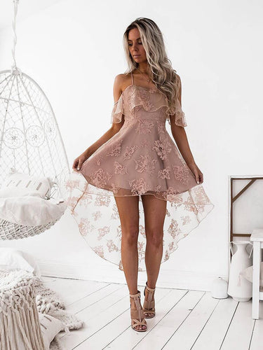 High Low Homecoming Dress Spaghetti Straps Asymmetrical Lace Sexy Short Prom Dress Party Dress JK457