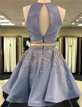 Two Piece Homecoming Dress Rhinestone Scoop Sexy Chic Short Prom Dress Party Dress JK459