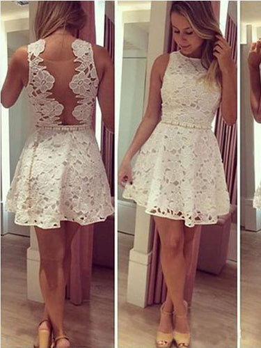 Cheap Homecoming Dress Scoop Ivory Tulle Lace Short Prom Dress Party Dress JK462
