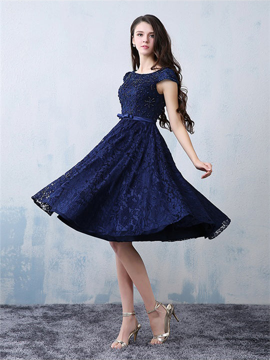 Chic Homecoming Dress A-line Dark Navy Lace Beading Short Prom Dress ...