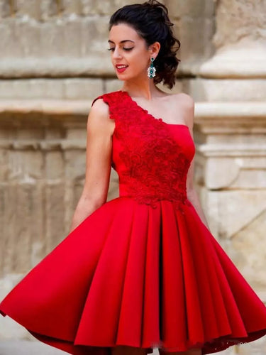 Sexy Homecoming Dress One Shoulder Appliques Red Short Prom Dress Party Dress JK465