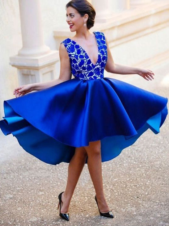 Sexy High Low Homecoming Dress V Neck A Line Royal Blue Short Prom