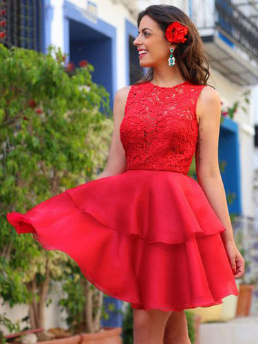 Lace Homecoming Dress A-line Scoop Organza Red Short Prom Dress Party Dress JK470