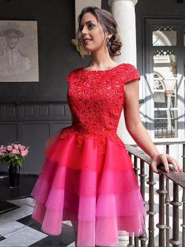 Red Homecoming Dress Scoop A-line Tulle Lace Short Prom Dress Party Dress JK473