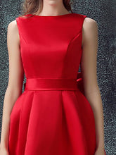 Red Homecoming Dress A-line Bateau Bowknot Cheap Short Prom Dress Party Dress JK474