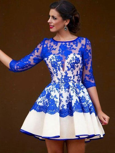 Royal Blue Homecoming Dress Scoop A-line Lace Short Prom Dress Party Dress JK475