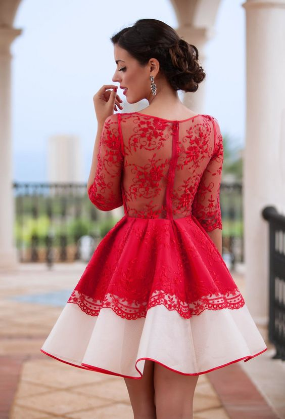 a2ac2a5969e Chic Homecoming Dress Scoop A-line Red Lace Short Prom Dress Party Dress  JK476 ...