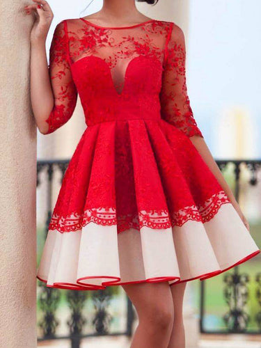 Chic Homecoming Dress Scoop A-line Red Lace Short Prom Dress Party Dress JK476