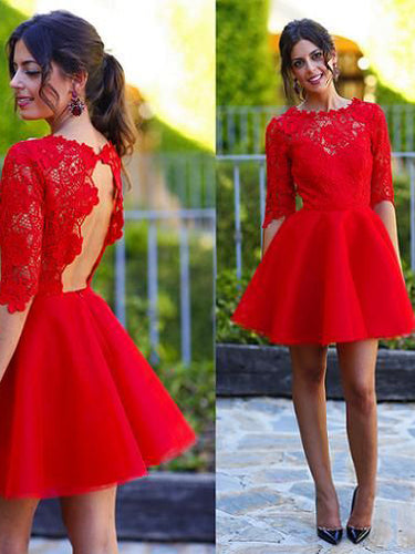 Red Homecoming Dress Scoop A-line Lace Sexy Short Prom Dress Party Dress JK477
