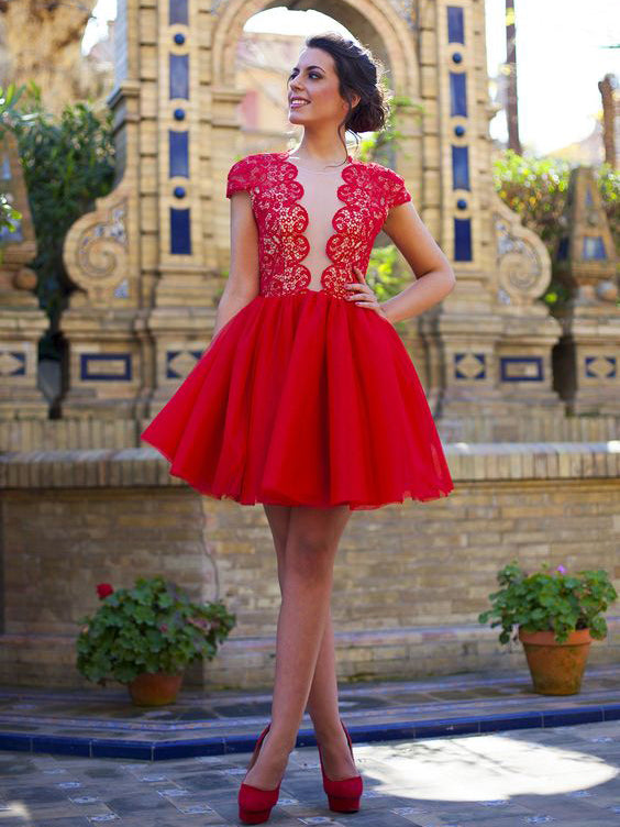 Red Homecoming Dress A-line Scoop Lace Cheap Short Prom Dress Party Dress JK478