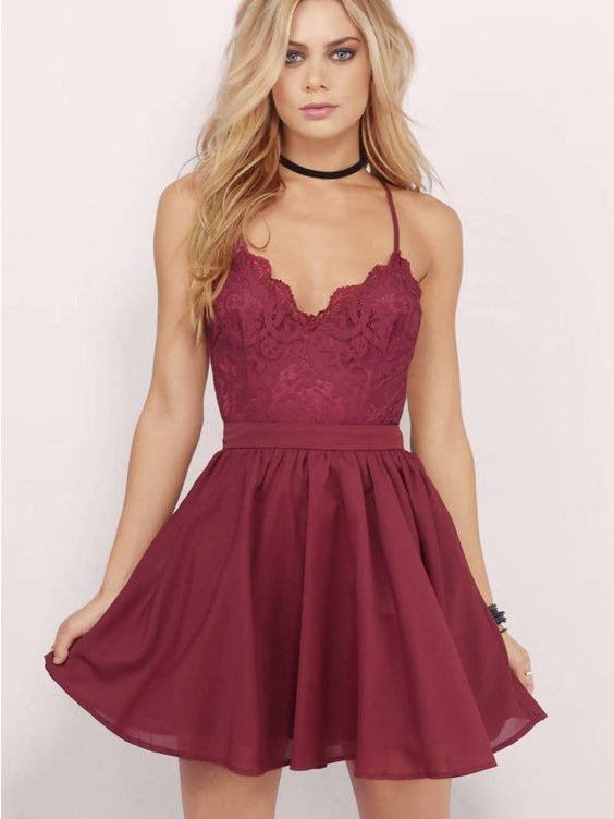 Burgundy Homecoming Dress Spaghetti Straps A-line Lace Short Prom ...