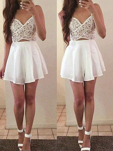 Sexy Homecoming Dress Spaghetti Straps A-line Lace Short Prom Dress Party Dress JK481