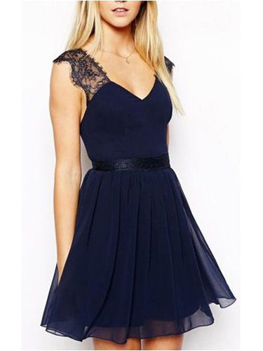 Dark Navy Homecoming Dress A-line V-neck Lace Cheap Short Prom Dress Party Dress JK482