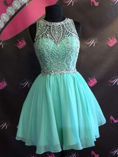 Sexy Homecoming Dress Scoop Rhinestone A-line Short Prom Dress Party Dress JK485