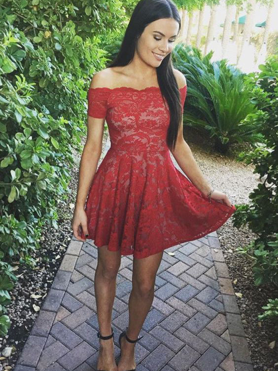 e5a02ab44c8a Red Homecoming Dress A-line Off-the-shoulder Short Mini Dress Lace Prom