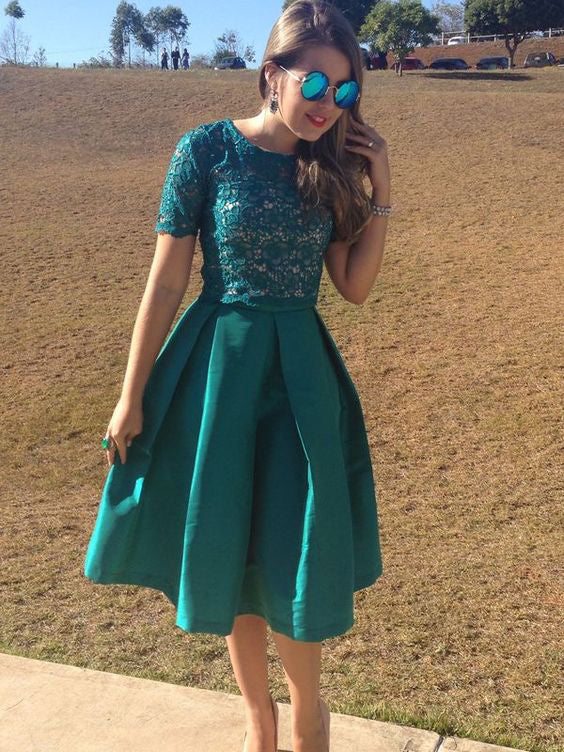 Two Piece Homecoming Dress Scoop Knee-length Hunter Green Lace Short Prom Dress Party Dress JK487