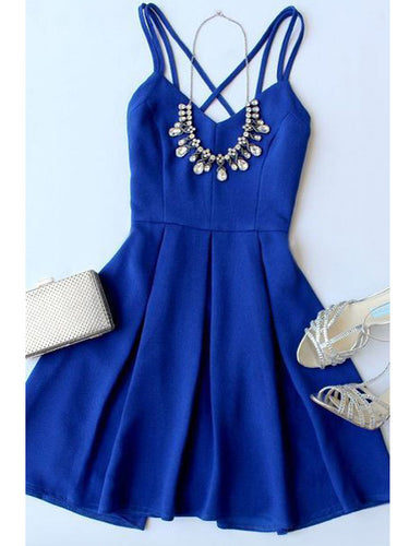 Royal Blue Homecoming Dress Criss-Cross Straps A-line Short Prom Dress Party Dress JK488