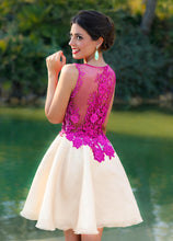 Chic Homecoming Dress Scoop Lace A-line Fuchsia Short Prom Dress Party Dress JK489
