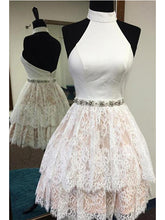 Halter Homecoming Dress A-line Ivory Lace Short Sexy Prom Dress Party Dress JK490
