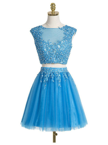 Two Piece Homecoming Dress Scoop Appliques Blue Short Prom Dress Sexy Party Dress JK492