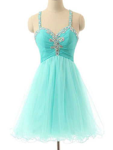 Sexy Homecoming Dress Spaghetti Straps A-line Short Prom Dress Sage Party Dress JK493