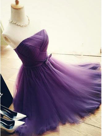 Chic Homecoming Dress Strapless A-line Tulle Short Prom Dress Sexy Party Dress JK498